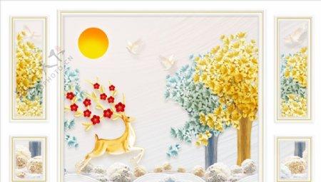 浮雕花梅花鹿太阳背景墙图片