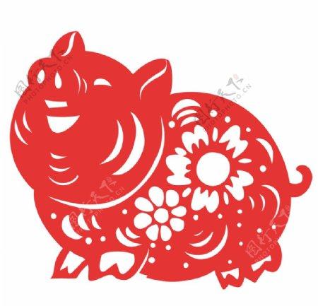 简洁中国传统红色剪纸窗花小花猪图片