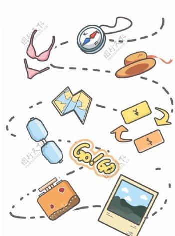 卡通旅行线稿手绘可爱手账素材图片