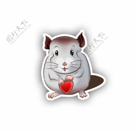 卡通可爱是捧着心的小老鼠矢量图图片