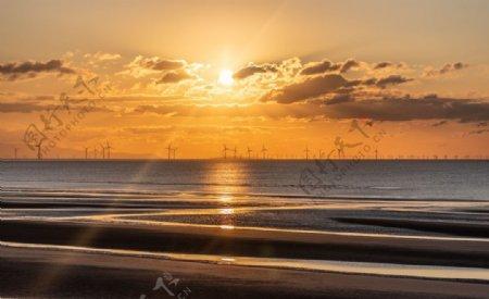 大海沙滩海浪海水风景图片