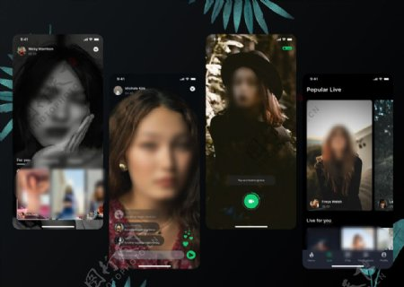 xd社交深色主题UI设计拍摄页图片