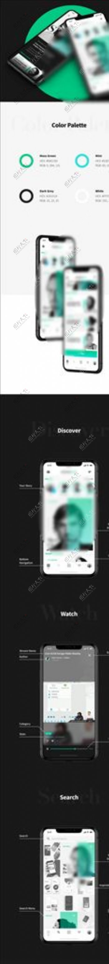 xd社交绿色UI设计首页播放页图片