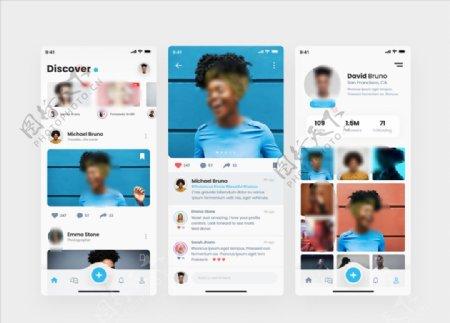 xd社交蓝色UI设计首页创意展图片