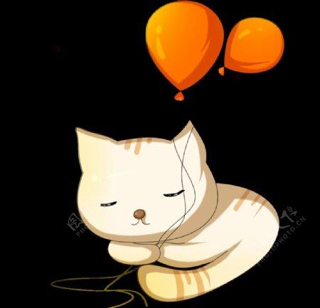 拿着气球的小猫图片
