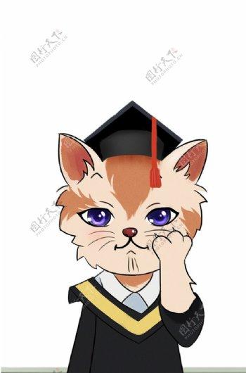 卡通手绘猫形象图片