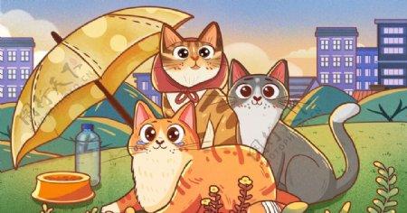 可爱猫咪插画图片