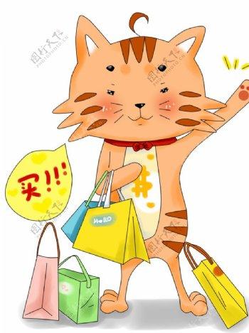 拿疯狂购物的小猫图片
