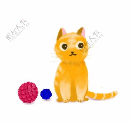 橘色小猫和线球图片