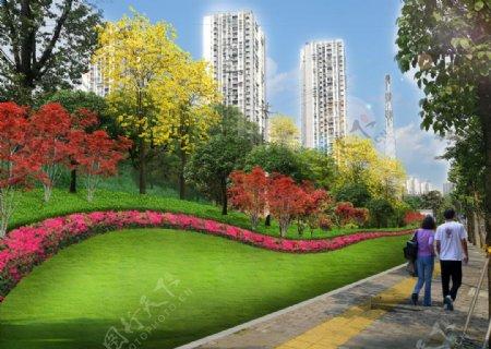 城市绿化绿化边坡市政图片