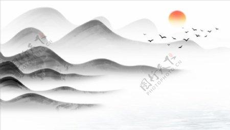水墨山水大雁太阳背景墙图片