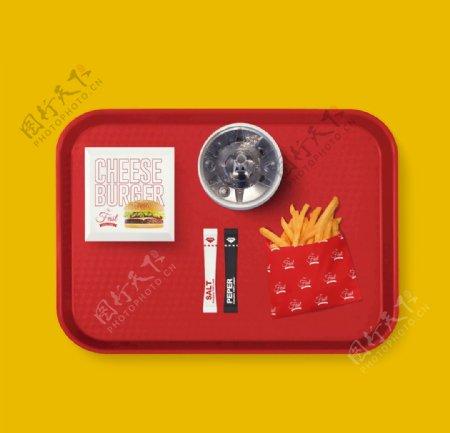 西式快餐盘饮料可乐薯条VI样机图片
