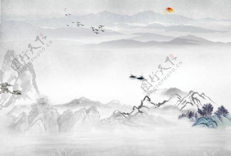 原创水墨山水背景墙图图片