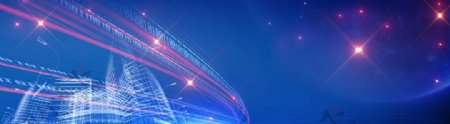 蓝色城市星光背景图片