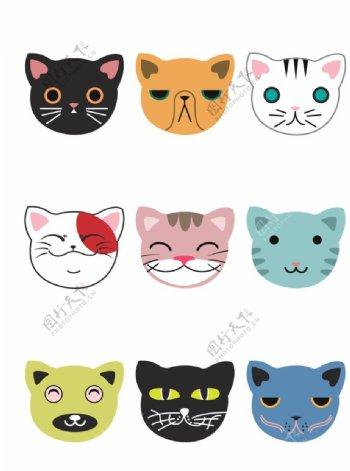 可爱卡通猫咪头像素材图片