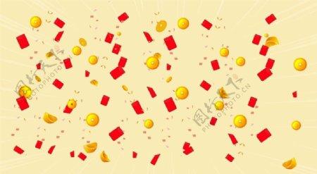 铜钱红包背景图片
