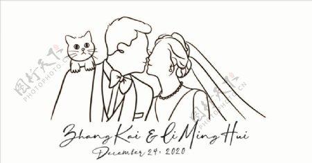男女亲吻额头肩头站猫猫图片
