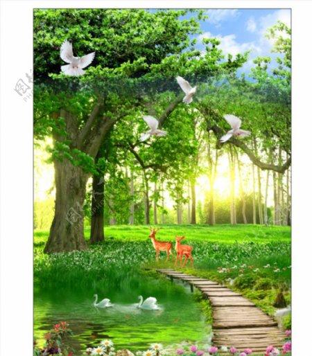 森林小鹿绿色图片