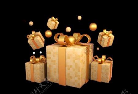 黄色简约小清新礼物盒装饰元素图片