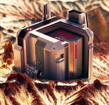 C4D模型机械零件太空基地图片