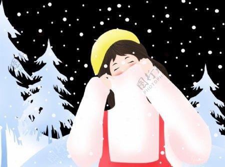 寒冷冬天女孩图片