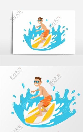 夏日清凉冲浪小哥卡通图片