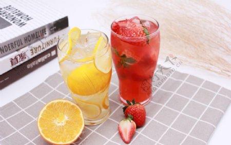 柠檬水草莓汁橙汁图片