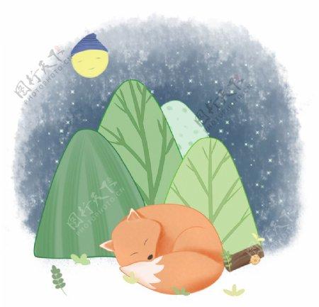 大树旁睡着的小狐狸手绘图片