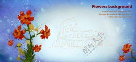 唯美彩绘鲜花背景图片