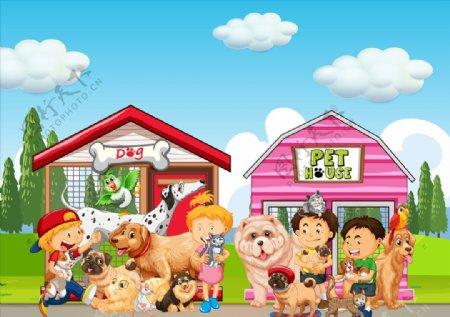 卡通儿童和动物图片