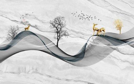 新中式大理石飘带小鹿背景墙图片